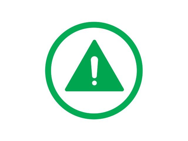 wykrzyknik na tle zielonego trójkąta otoczony zielonym okręgiem