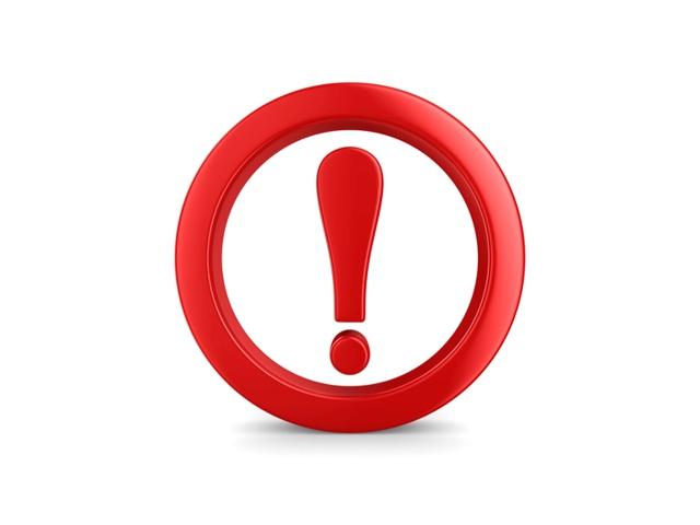 czerwony wykrzyknik w czerwonym okręgu